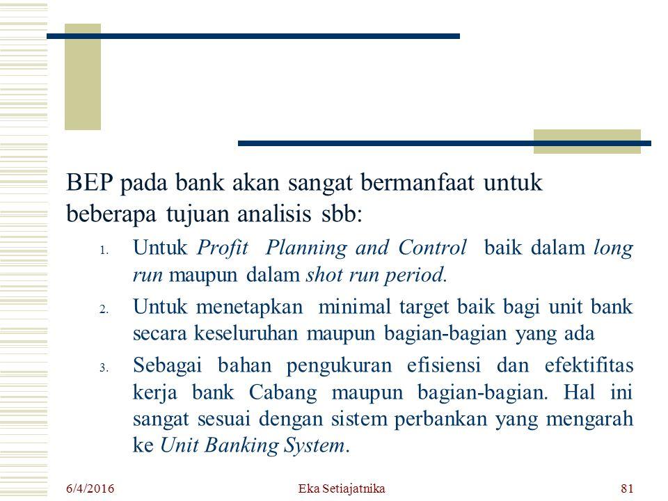 BEP pada bank akan sangat bermanfaat untuk beberapa tujuan analisis sbb: