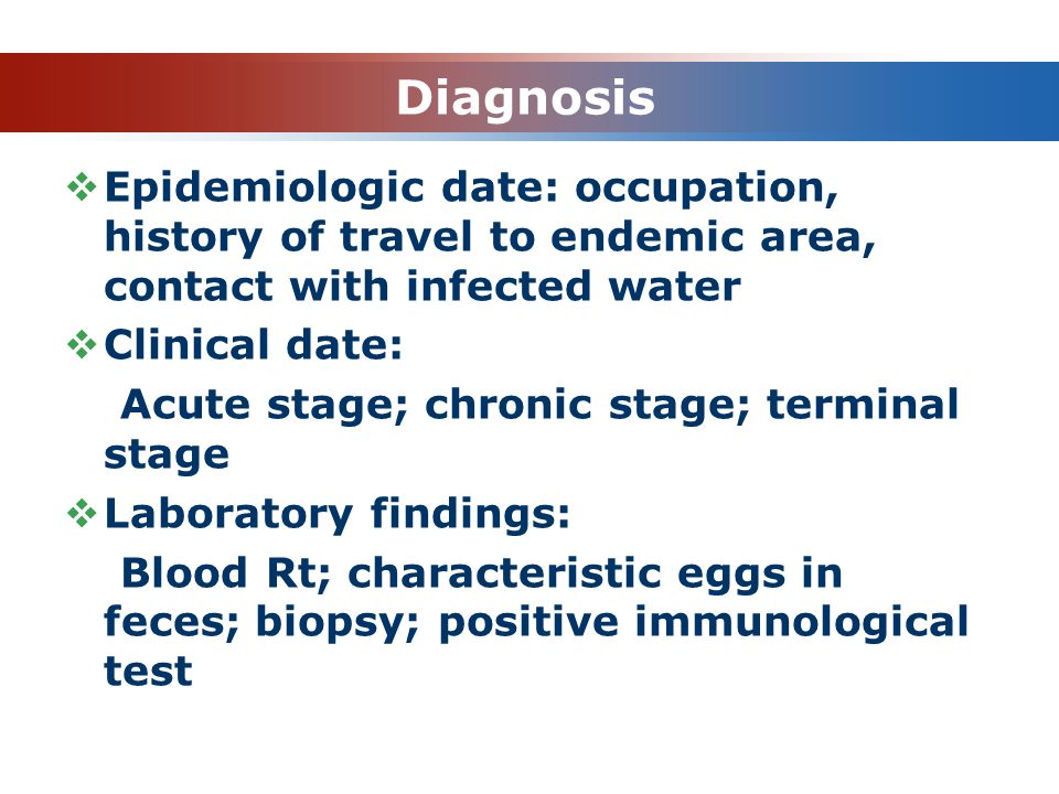 Diagnosis Epidemiologic date: occupation, history of travel to endemic area, contact with infected water.