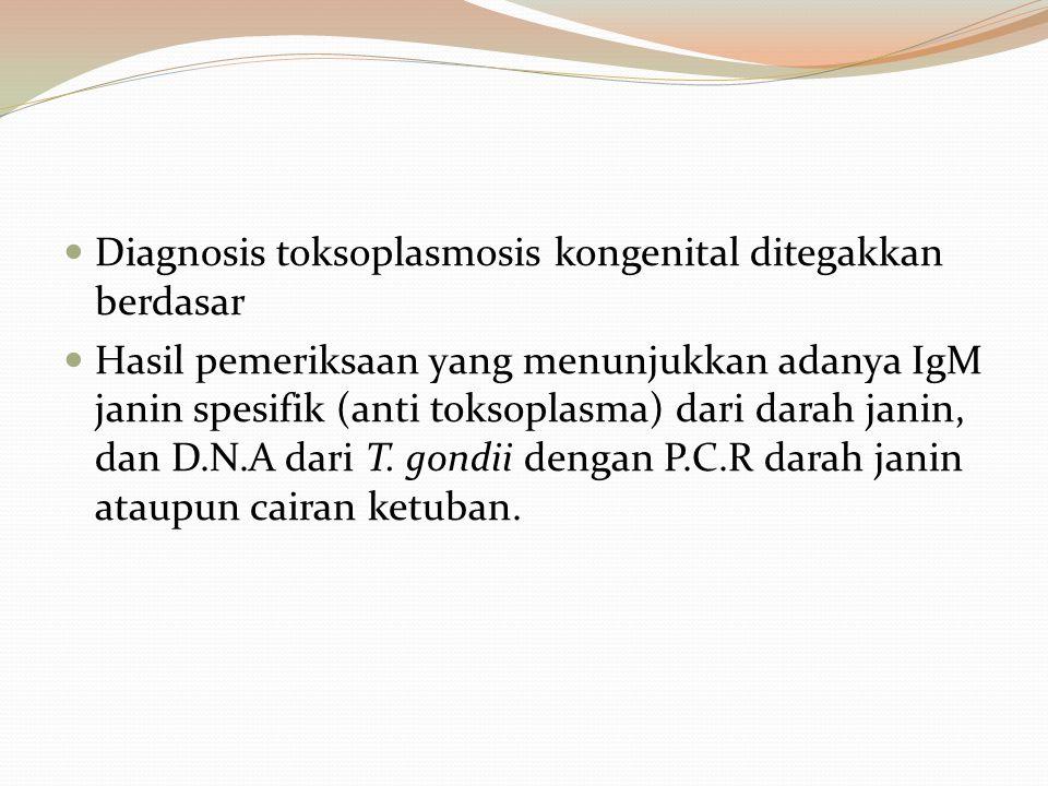 Diagnosis toksoplasmosis kongenital ditegakkan berdasar