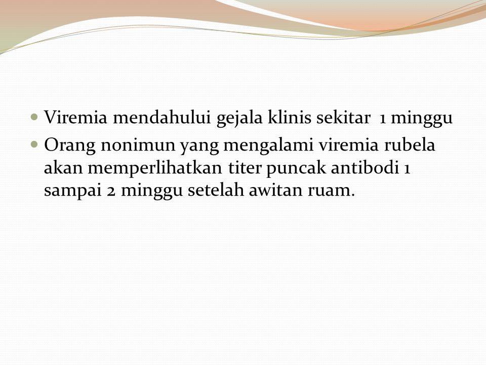 Viremia mendahului gejala klinis sekitar 1 minggu