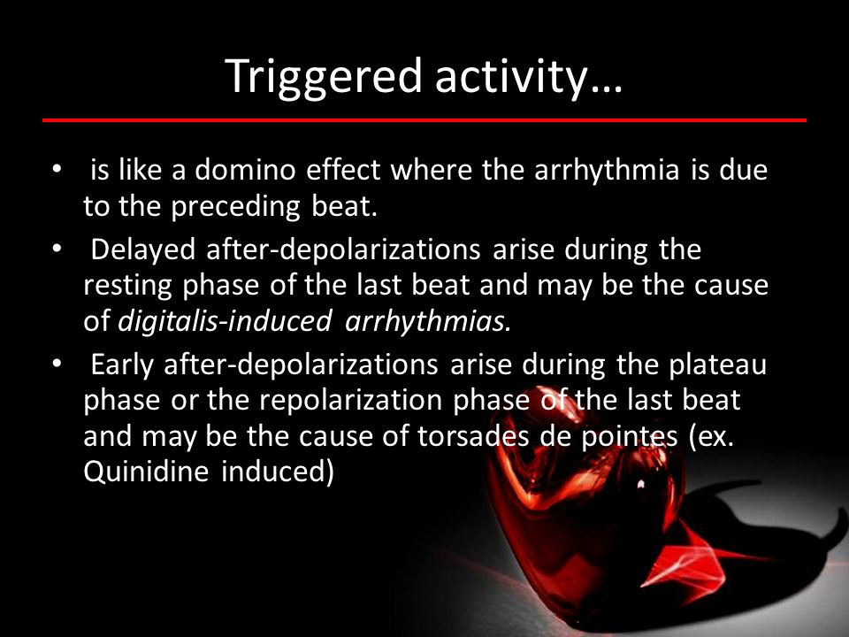 Triggered activity… is like a domino effect where the arrhythmia is due to the preceding beat.