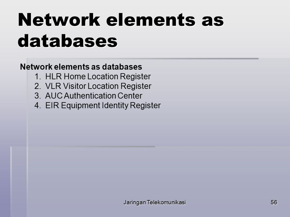 Network elements as databases