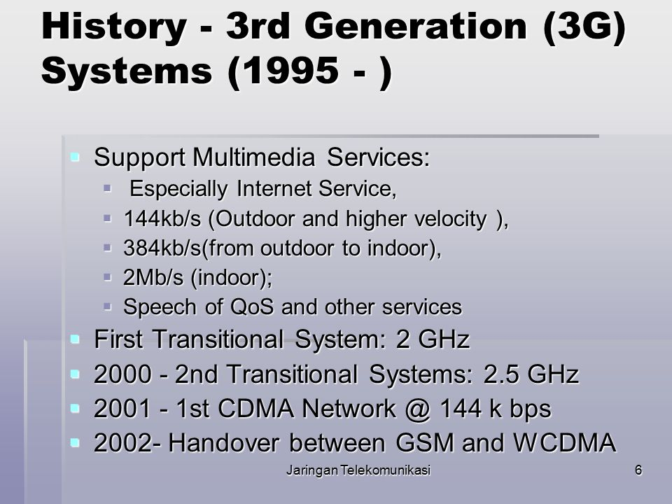 History - 3rd Generation (3G) Systems (1995 - )