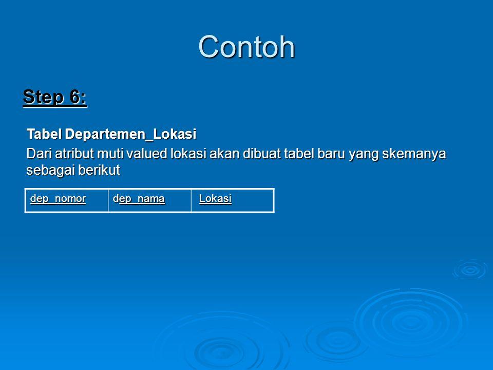 Contoh Step 6: Tabel Departemen_Lokasi