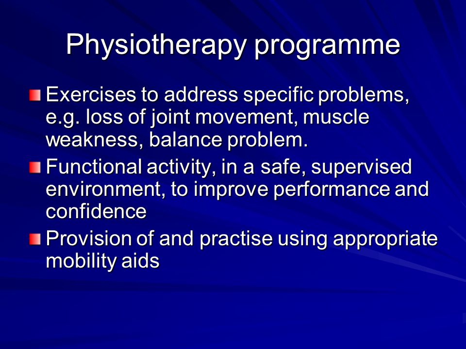Physiotherapy programme