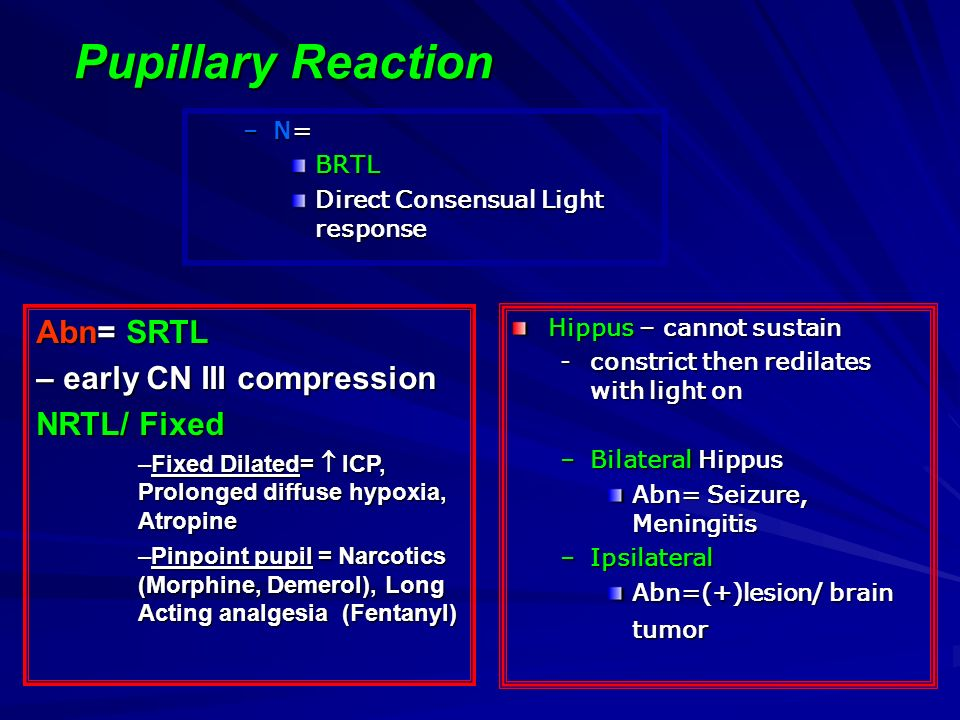 Pupillary Reaction Abn= SRTL – early CN III compression NRTL/ Fixed N=