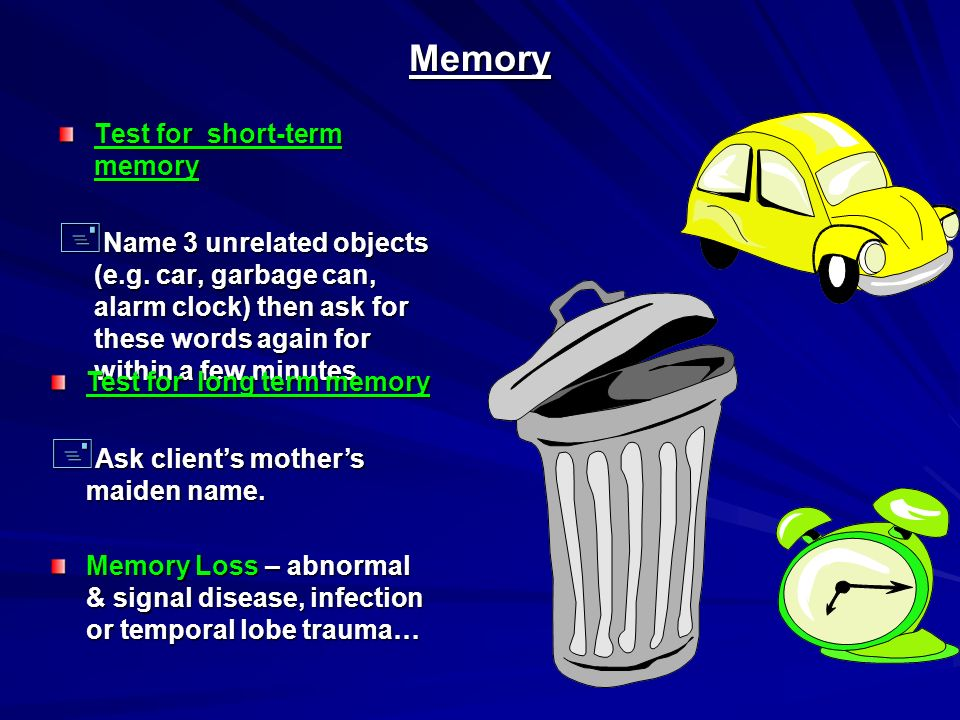 Memory Test for short-term memory