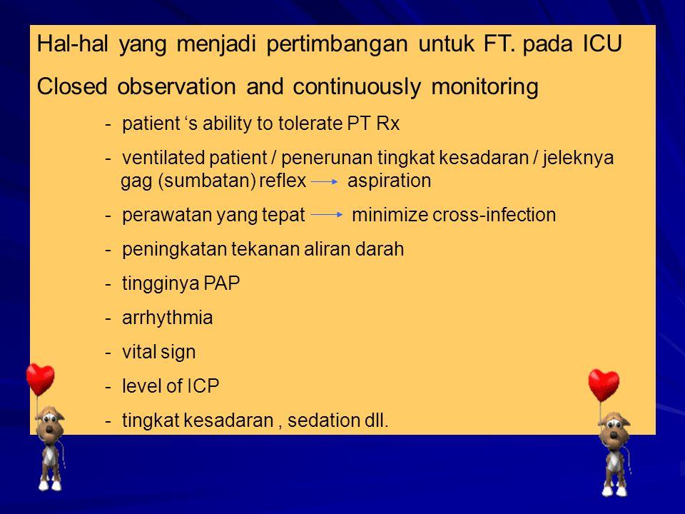 Hal-hal yang menjadi pertimbangan untuk FT. pada ICU