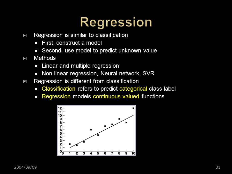 Regression Regression is similar to classification