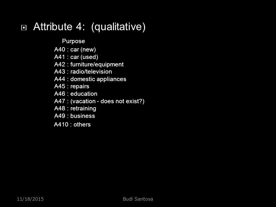 Attribute 4: (qualitative). Purpose. A40 : car (new). A41 : car (used)