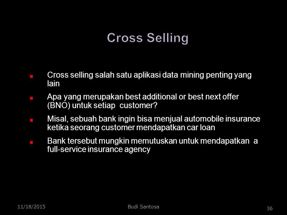 Cross Selling Cross selling salah satu aplikasi data mining penting yang lain.