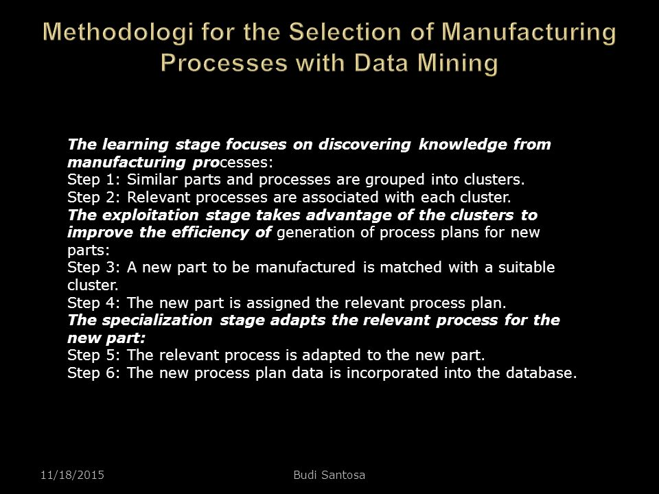 Methodologi for the Selection of Manufacturing Processes with Data Mining