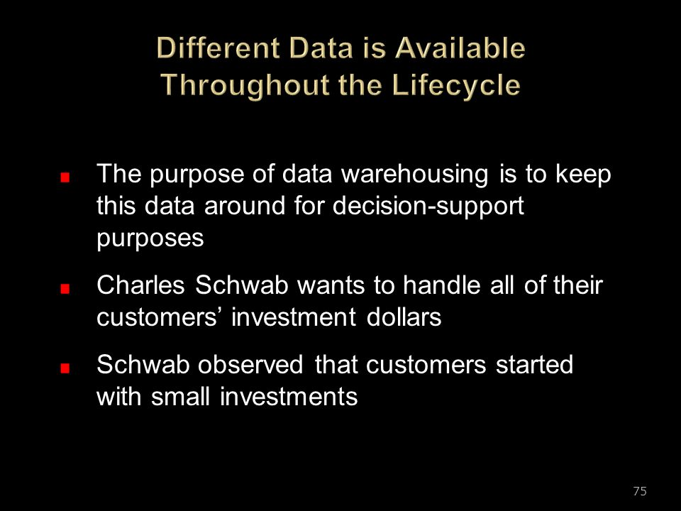 Different Data is Available Throughout the Lifecycle