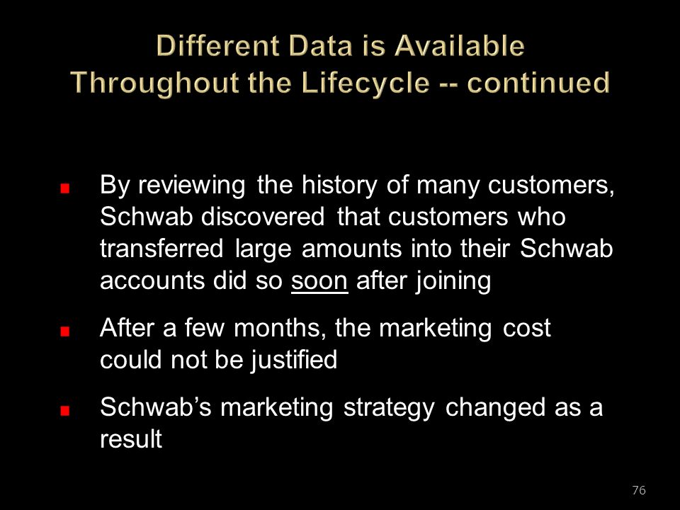 Different Data is Available Throughout the Lifecycle -- continued