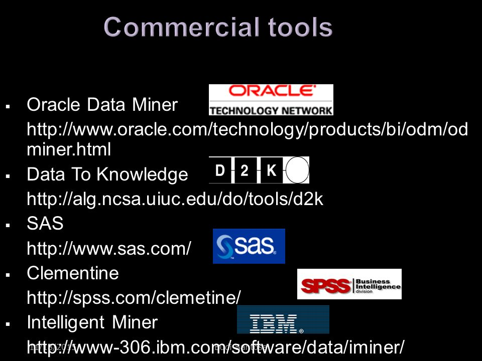 Commercial tools Oracle Data Miner
