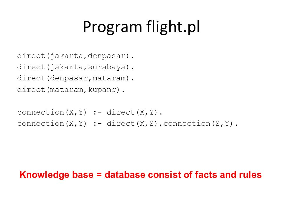 Program flight.pl Knowledge base = database consist of facts and rules