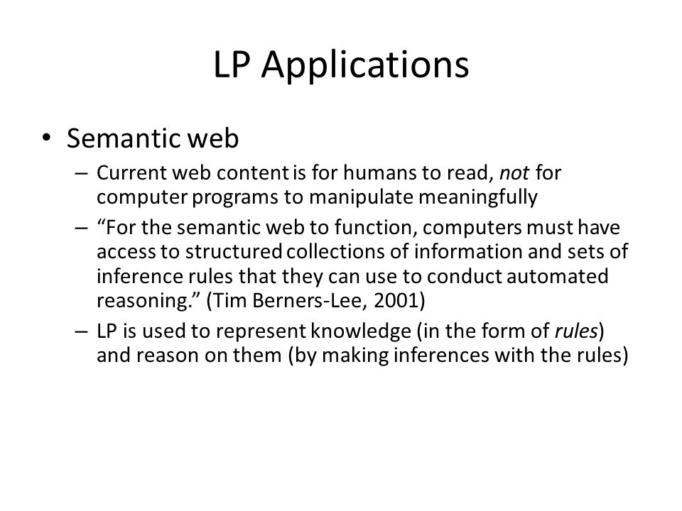 LP Applications Semantic web