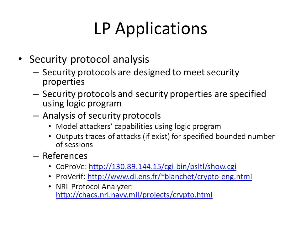LP Applications Security protocol analysis