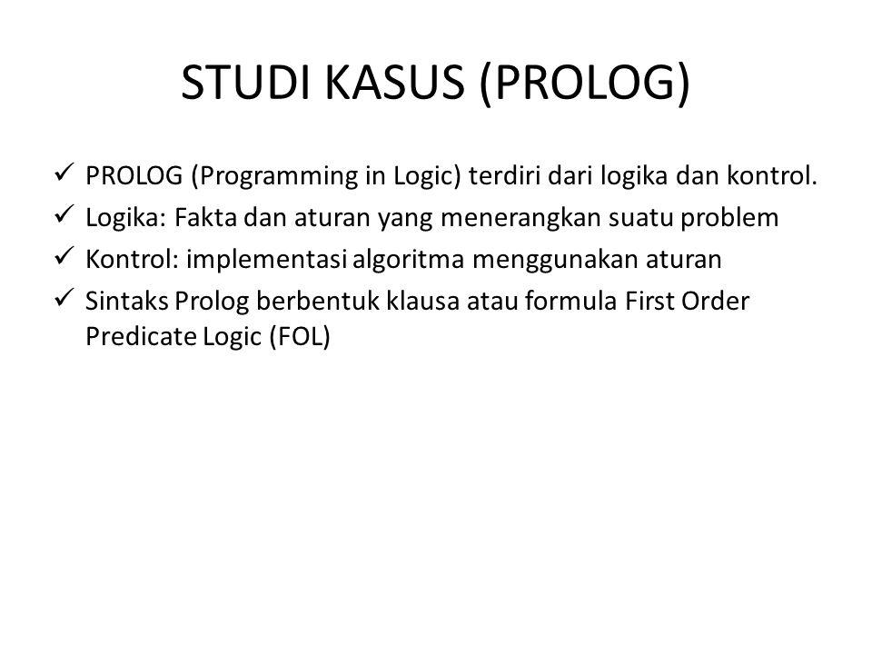 STUDI KASUS (PROLOG) PROLOG (Programming in Logic) terdiri dari logika dan kontrol. Logika: Fakta dan aturan yang menerangkan suatu problem.