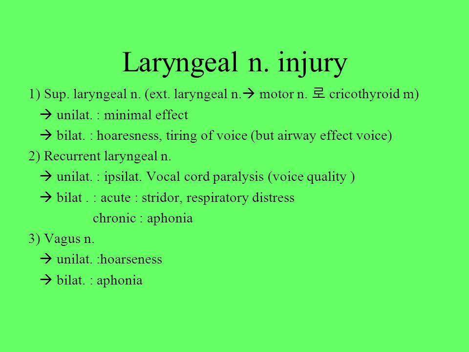 Laryngeal n. injury 1) Sup. laryngeal n. (ext. laryngeal n. motor n. 로 cricothyroid m)  unilat. : minimal effect.