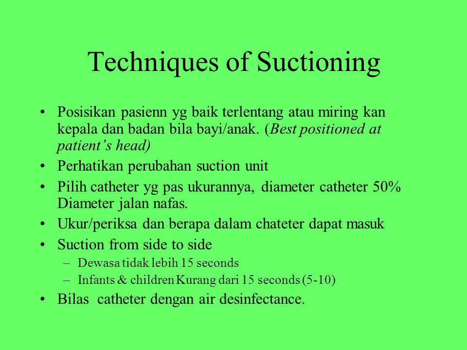 Techniques of Suctioning