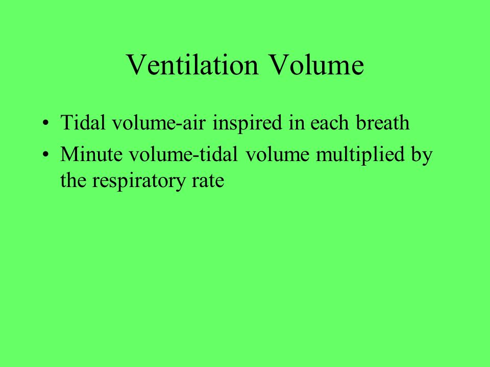 Ventilation Volume Tidal volume-air inspired in each breath