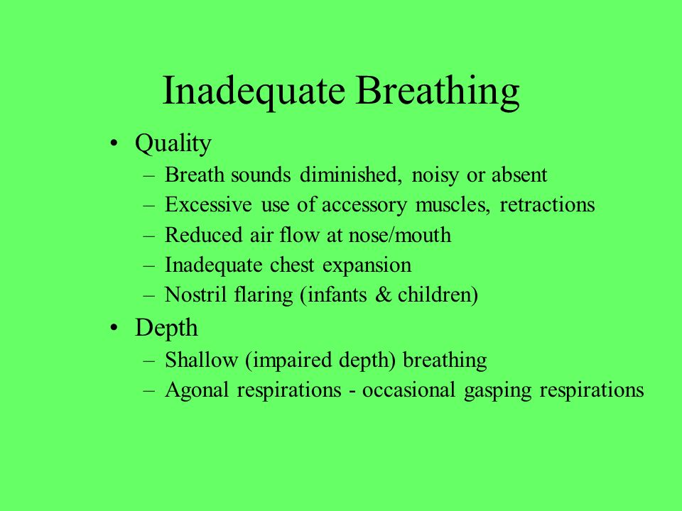 Inadequate Breathing Quality Depth