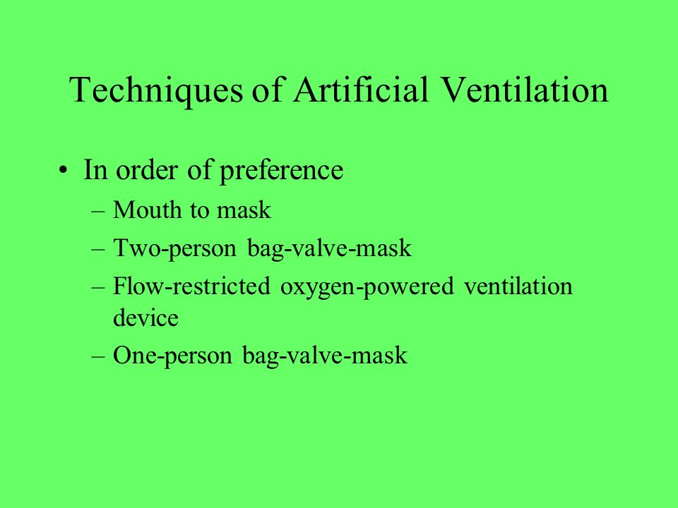 Techniques of Artificial Ventilation