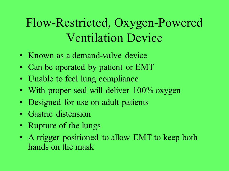 Flow-Restricted, Oxygen-Powered Ventilation Device