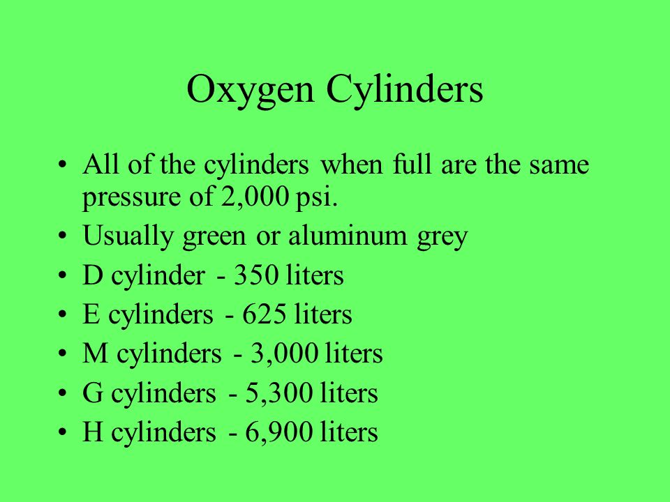 Oxygen Cylinders All of the cylinders when full are the same pressure of 2,000 psi. Usually green or aluminum grey.
