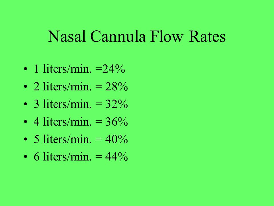Nasal Cannula Flow Rates