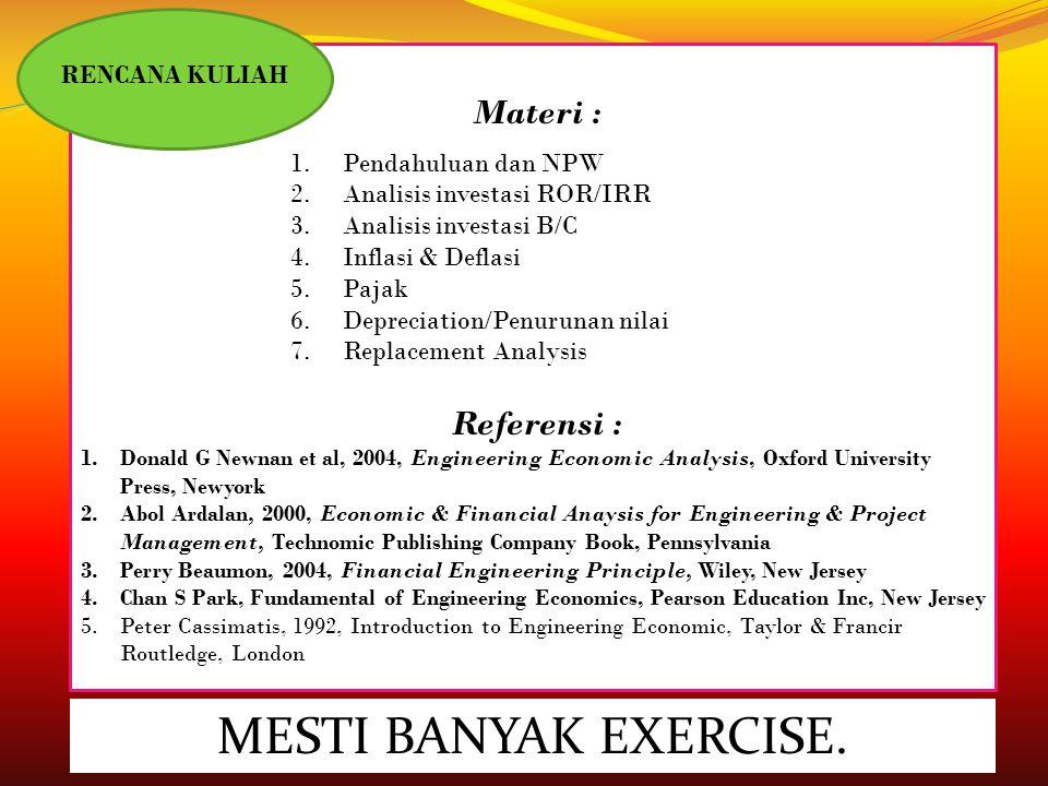 MESTI BANYAK EXERCISE. Materi : Referensi : RENCANA KULIAH