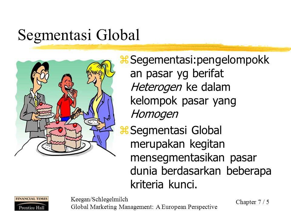 Segmentasi Global Segementasi:pengelompokkan pasar yg berifat Heterogen ke dalam kelompok pasar yang Homogen.