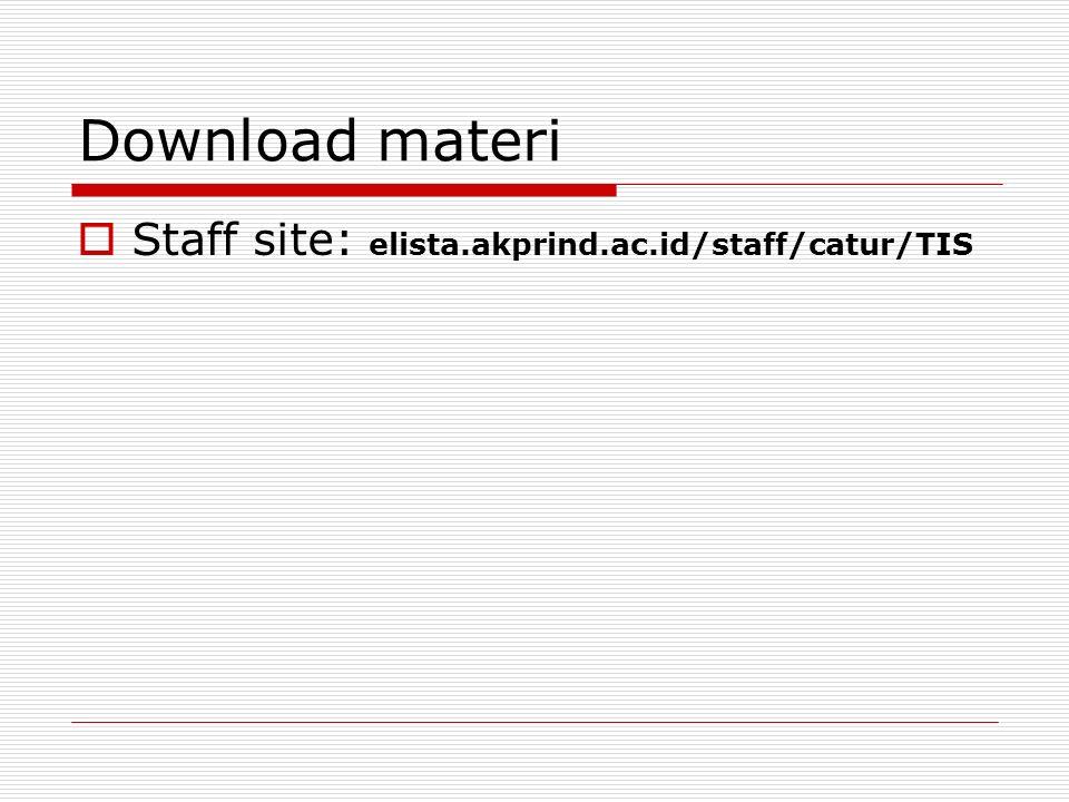 Download materi Staff site: elista.akprind.ac.id/staff/catur/TIS