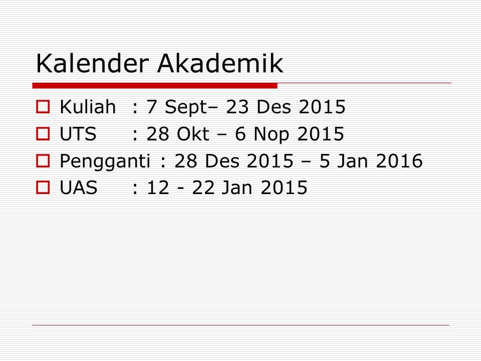 Kalender Akademik Kuliah : 7 Sept– 23 Des 2015