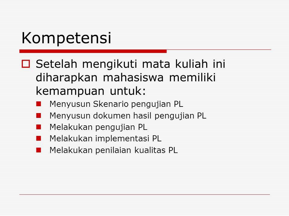 Kompetensi Setelah mengikuti mata kuliah ini diharapkan mahasiswa memiliki kemampuan untuk: Menyusun Skenario pengujian PL.
