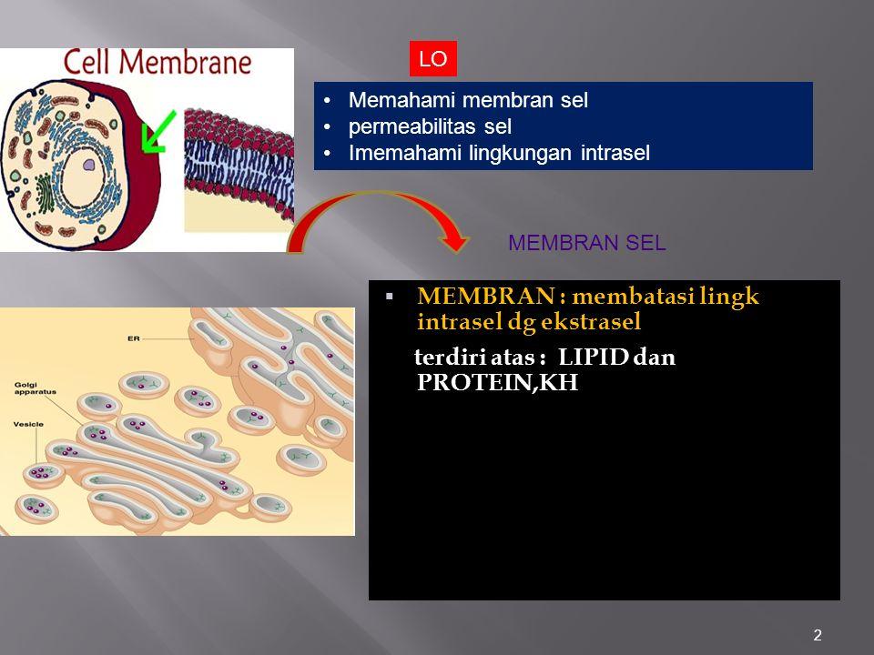 MEMBRAN : membatasi lingk intrasel dg ekstrasel