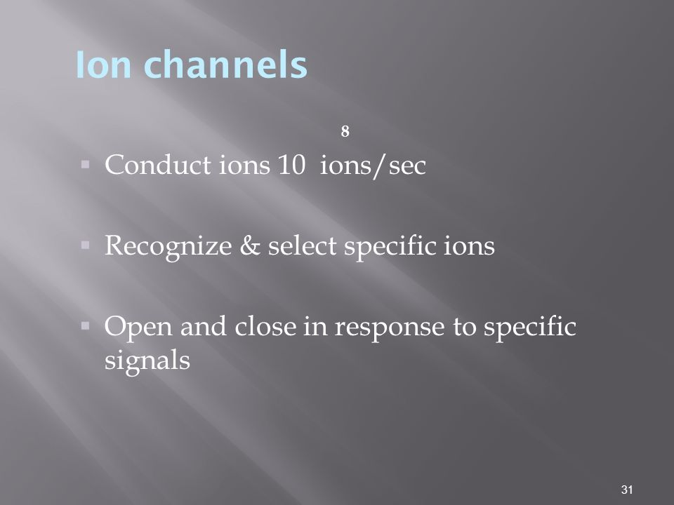 Ion channels Conduct ions 10 ions/sec Recognize & select specific ions