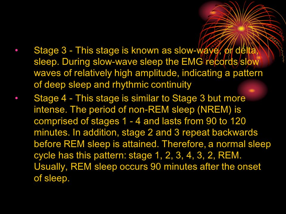 Stage 3 - This stage is known as slow-wave, or delta, sleep