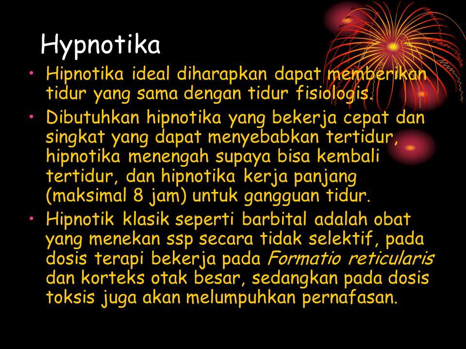 Hypnotika Hipnotika ideal diharapkan dapat memberikan tidur yang sama dengan tidur fisiologis.
