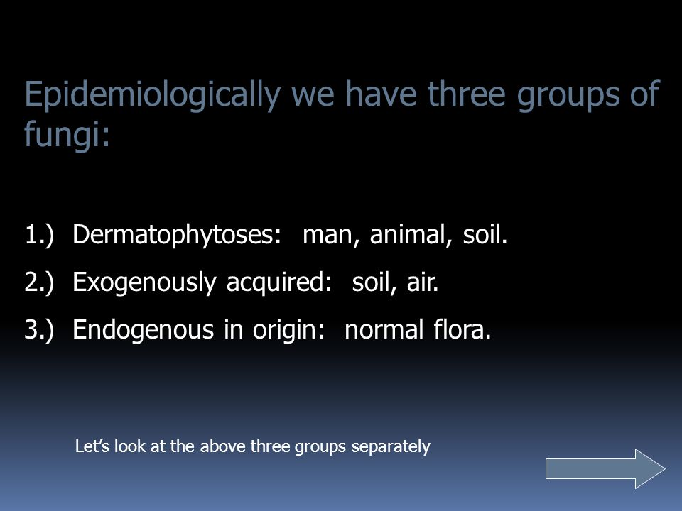 Epidemiologically we have three groups of fungi: