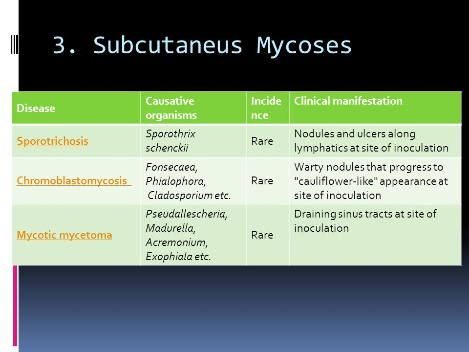 3. Subcutaneus Mycoses Disease Causative organisms Incidence