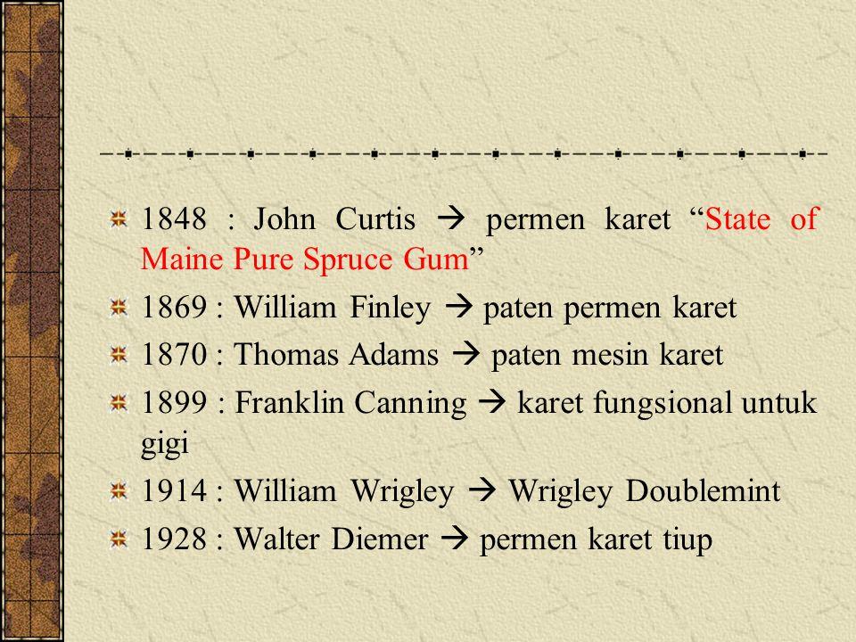 1848 : John Curtis  permen karet State of Maine Pure Spruce Gum