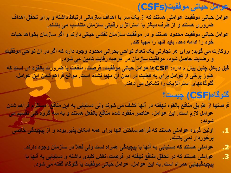 strategy عوامل حیاتی موفقیت(CSFs) گلوگاه(CSF) چیست؟