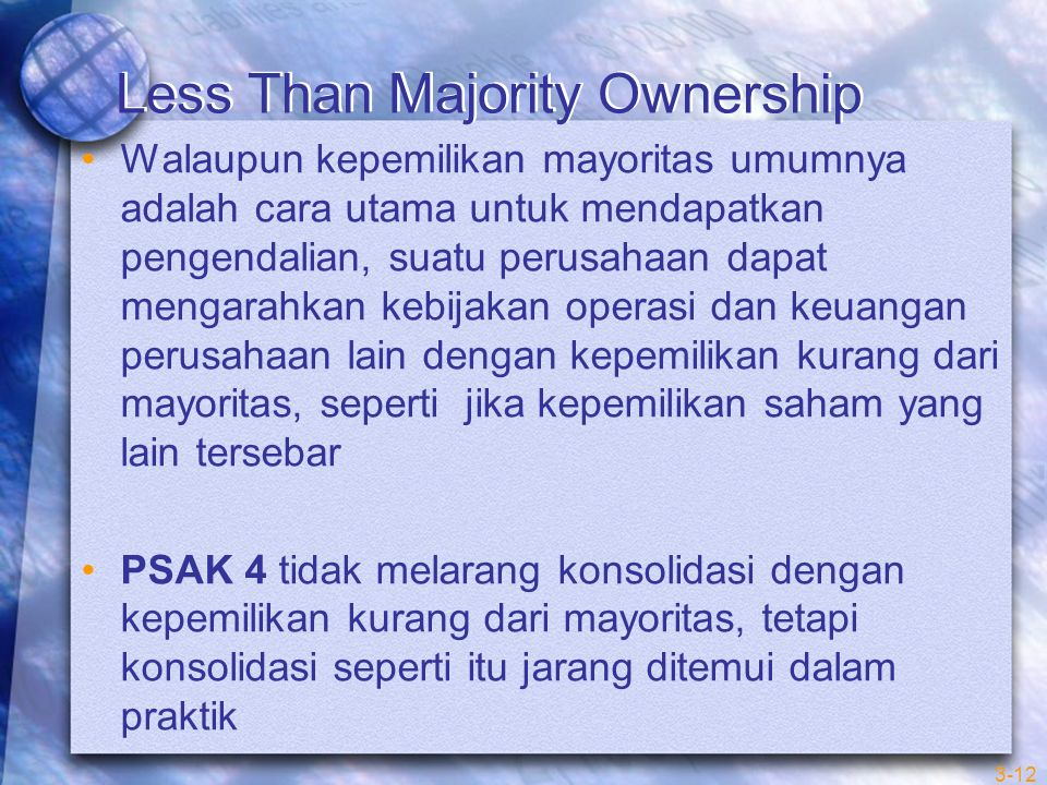Less Than Majority Ownership
