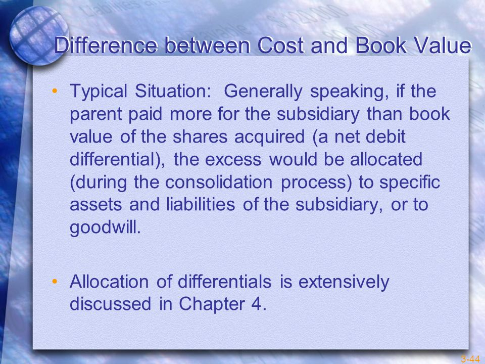 Difference between Cost and Book Value