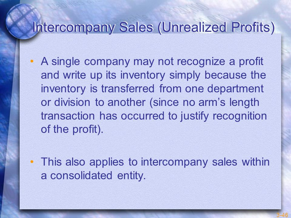 Intercompany Sales (Unrealized Profits)