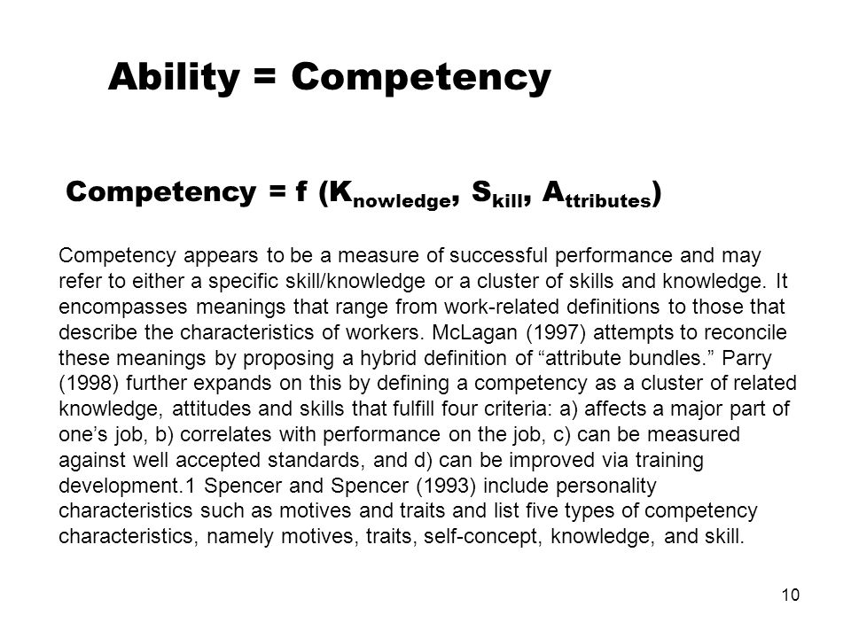 Ability = Competency Competency = f (Knowledge, Skill, Attributes)