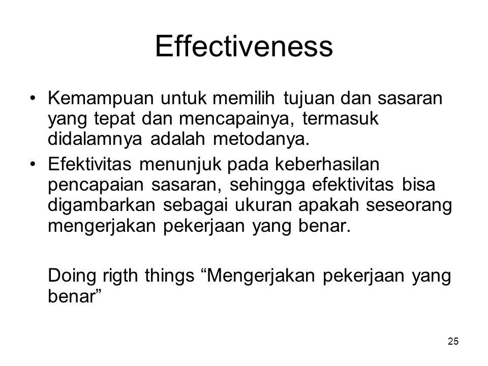 Effectiveness Kemampuan untuk memilih tujuan dan sasaran yang tepat dan mencapainya, termasuk didalamnya adalah metodanya.