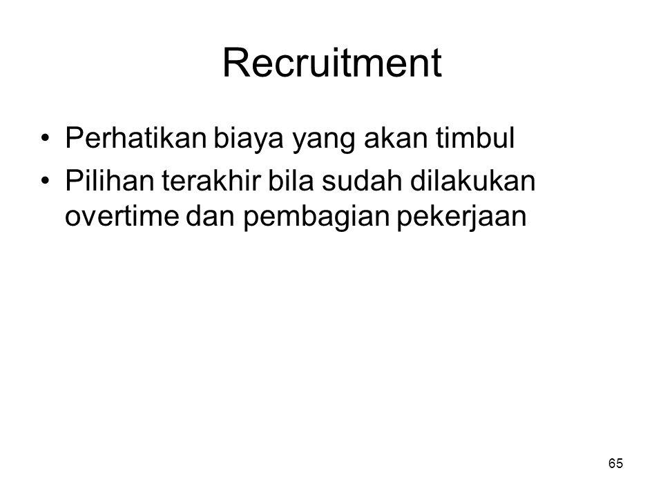 Recruitment Perhatikan biaya yang akan timbul